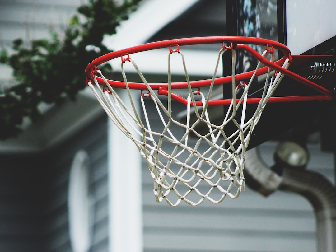Closeup of a basketball hoop