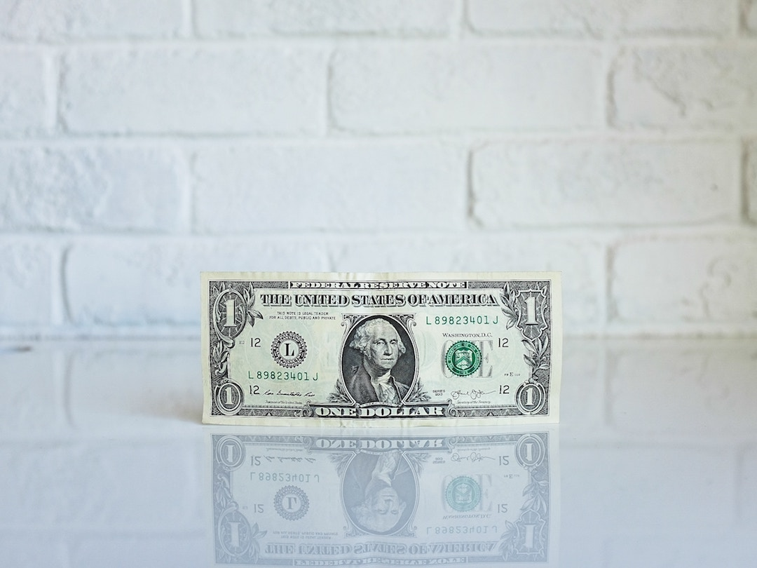 Dollar bill in front of a white brick wall