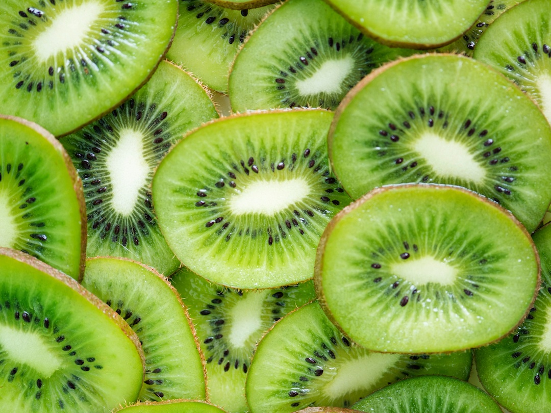 A stack of kiwi slices